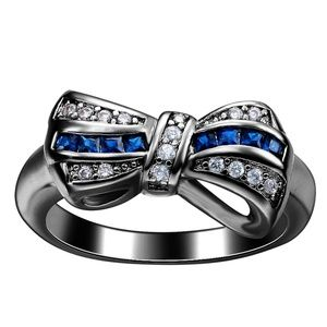 Jewelry - 18k Black Gold Plated Blue Sapphire & CZ Bow Ring